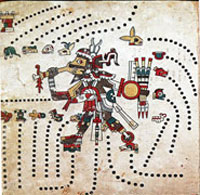 Pic 16: Tezcatlipoca, owner of the obsidian mirror of destiny and god of fates, Codex Fejérváry-Mayer, fol. 44