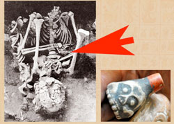 Pic 4: Skeleton of man buried at wind god temple, Tlatelolco, with death whistle (indicated)