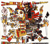 Pic 5: Mictlantecuhtli back-to-back with Ehecatl, Codex Borgia (lam. 56)