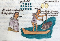 Pic 2: A Mexica father teaches his son to fish with nets, Codex Mendoza folio 60r