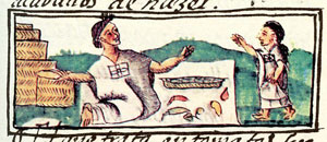 Pic 6: Chile seller in an Aztec market. The baskets of wares behind this seller suggest that she is a specialized retailer and not just a vender of her own produce. Florentine Codex Bk. 10