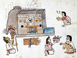 Pic 7: An Aztec sweat bath, presided over by Tlazolteotl, the goddess of purification and curing.  Her mouth is smeared with the filth of sins consumed during confessions. Codex Magliabechiano folio 77r