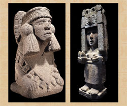 Pic 11: (left) Chalchiuhtlicue, the goddess of lakes and rivers, stone statue, British Museum; (right) Chicomecoatl, the goddess of maize, stone statue, National Museum of Anthropology, Mexico City