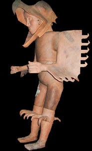 Pic 15: Model of an elite eagle warrior, ceramic statue, Templo Mayor Museum, Mexico City