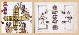 Pic 15: 4-cornered patolli board (L) and ballcourt (R); Codex Magliabecchiano folios 60 (L, detail) and 80 (R)