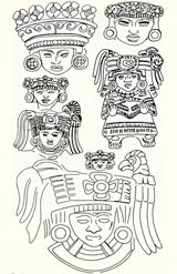 Pic 3: Probable representation of the goddess Xochiquetzal in small ceramic figurines from Teotihuacan; drawings by Laurette Séjourné