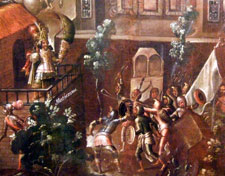 Pic 6: In popular Mexican tradition the captive Moctezuma II was killed by a sling by Cuauhtémoc; oil on canvas screen painting of the Spanish Conquest (detail), National History Museum, Mexico City