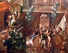 Fig 6: En la tradición popular, Moctezuma II fue matado por un tiro de honda de Cuauhtémoc; detalle de un biombo sobre la Conquista, Museo Nacional de Historia, Castillo de Chapúltepec