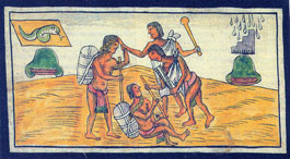 Pic 8: Club-wielding warriors from Tlachquiauhco, Fray Diego Durán 'Historia...' fol. 186v