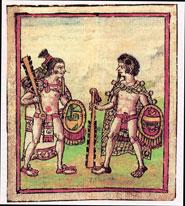 Pic 13: Mexica warriors bearing macuahuitls, Fray Diego Durán 'Libro de Dioses y Ritos' folio 273r