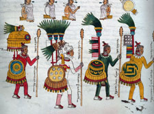 Pic 17: Aztec elite officers with lances, Codex Mendoza folio 67