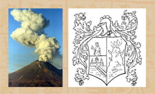 Pic 15: Popocatépetl and Diego de Ordaz' coat of arms with the fiery volcano