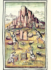 Pic 2: Aztec stone quarry, Florentine Codex Book 10, plate 40