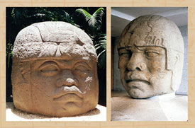 Pic 4: Olmec colossal heads: La Venta Monument 1 (L), San Lorenzo Monument 5, Anthropology Museum, Xalapa, Veracruz (R)