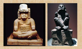Pic 7: Olmec seated person (La Venta Monument 77), Los Angeles County Museum of Arts (L); Xochipilli statute, National Museum of Anthropology, Mexico City (R)