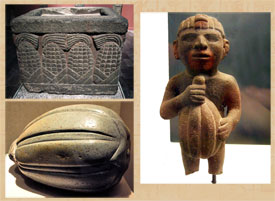Pic 10: Aztec stone box with maize, squash, man with cacao pod; National Museum of Anthropology, Mexico City