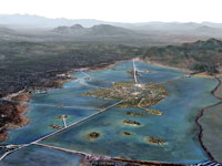 Pic 3: Artist's impression of the landscape surrounding Tenochtitlan: the dike of Mexicaltzinco can be seen bottom left