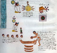 Pic 6: In an early rebellion under Aztec rule, Chalco destroyed four Mexica canoes with rocks and killed five Mexica men: Codex Mendoza, folio 4v (detail)