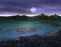 Pic 11: Artist's impression of Tenochtitlan and surrounding moonlit landscape