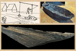 Pic 13: Artist's impression of water-carrying by canoe; archaeological remains of a Mexica canoe (below) and of a model canoe (top right), National Museum of Anthropology, Mexico City
