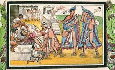 Pic 2: Prisoner being sacrificed  by the Mexica on a sacrificial stone; Historia Durán, folio 70r