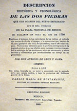 Pic 6: Front cover of facsimile edition of León y Gama's 1792 study of the Calendar Stone, Templo Mayor Museum, Mexico City