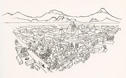 Pic 2: Tenochtitlan and surrounding mountains; illustration by Alberto Beltrán