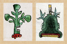 Pic 3: Place glyphs in the Codex Mendoza: (L) Ahuactlan (fol 39r) and (R) Acatepec (fol 13r)