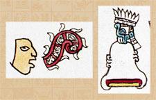 Pic 4: Place glyphs in the Codex Mendoza: (L) Cuicatlan (fol 43r) and (R) Yztac tlalocan (fol 15v)