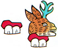 Pic 5: Glyphs for 'place' (teeth = 'tlan[tli]') and for Mazatlan ('place of deer')