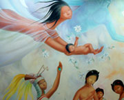 Pic 4: A newborn is compared to a precious jade: detail from mural by Regina Raúll, 'Paisaje Mexica' (1964), National Museum of Anthropology, Mexico City