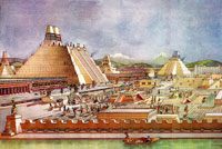 Pic 9: Reconstruction of the centre of Tenochtitlan (Templo Mayor on left) by Ignacio Marquina