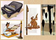 Pic 15: Metate, loom, digging stick: illustrations by Felipe Dávalos; obsidian blades, Templo Mayor Museum, Mexico City