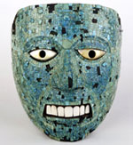 Pic 16: Aztec wooden mask (possibly representing Xiuhtecuhtli) covered with turquoise mosaic, British Museum