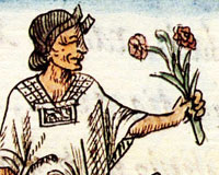 Pic 18: Mexica woman holding flowers, Florentine Codex Book 2
