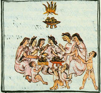 An Aztec feast, from the Florentine Codex