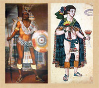 Pic 2: Moctezuma (L - detail from painting by Antontio Rodríguez) and Nezahualpilli (R - detail from Codex Ixtlilxochitl, folio 108)