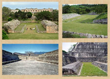 Pic 9: Ballcourts at (clockwise from top L): Uxmal, Tenam Puente, Tikal, Mixco Viejo,