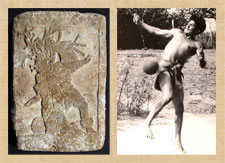 Pic 11: La Corona panel: a Late Classic ballplayer (L); hip ball game, Sinaloa (after Ted J. J. Leyenaar) (R)