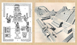 Pic 14: The 'I'-shaped 'teotlachco' in the sacred precinct at Tenochtitlan (L); drawing of the ballcourt at Chinkultic (R)