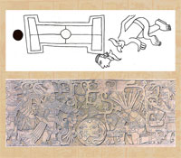 Pic 15: Codex Aubin: decapitation scene (top); decapitation: bas-relief from Chichen Itza (after Marquina) (bottom)
