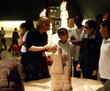 Part of a school workshop on the Aztecs in the Mexico Gallery of the British Museum