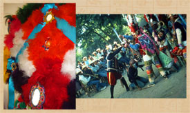 Pic 3: A scene from the 'Danza de la Pluma' (R); close-up (L) of the mirror-trimmed main headdress