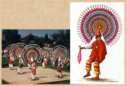 Pic 5: The 'Quetzales' bird dance from the Sierra de Puebla (L); illustration (R) by Luis Covarrubias
