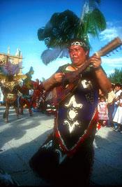 Pic 12: Tradiitonal 'concha' guitar player accompanying Concheros dancers
