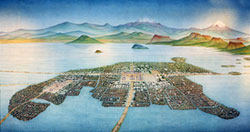 Pic 3: The city of Tenochtitlan and surroundings - painting by Miguel Covarrubias, National Anthropology Museum, Mexico City