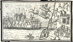 Pic 6: Removable bridges played a key role in the defense of Tenochtitlan; Florentine Codex Book XII