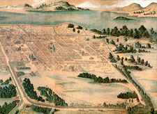 Pic 7: Part of the map of Mexico City drawn by Juan Gómez de Trasmonte in 1628, showing the aqueduct bringing fresh water from Chapultepec Park (bottom right) into the city; notice how the lake is disappearing...