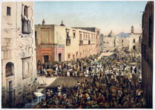 Pic 10: 'Roldán Street and the [Alhóndiga] Wharf' - painting by Casimiro Castro and J. Campillo, 1864