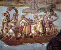 Pic 12: Attendants fan feathers and play drums on Lake Texcoco accompanying the Spanish column on its approach to Tenochtitlan - detail from 'Screen with scenes from the conquest of Mexico' (colonial), National History Museum